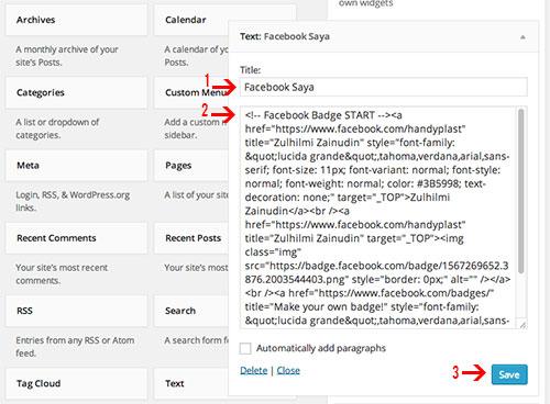 cara-letak-profile-facebook-dekat-dalam-blog
