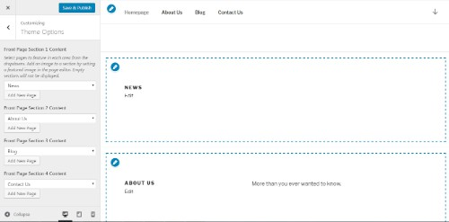 tambah edit page dalam customizer
